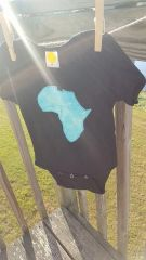 Black Baby Onesie with blue Africa