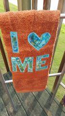 I LOVE ME Rust Hand Towel with Blue Tye Dye