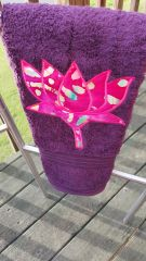 Plum hand towel with Pink Tye Dye Lotus