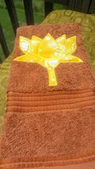 Rust Towel with Yellow Batik Lotus