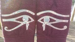 Purple Hand Towel with Sky Blue Batik Eye of Heru