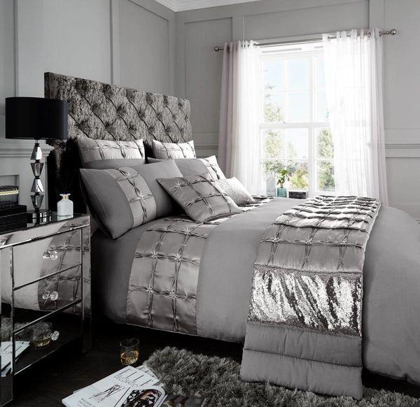 Adriana silver cotton blend duvet cover