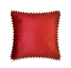 Pom pom red cushion cover