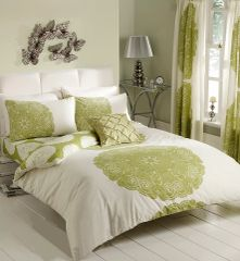 Manhatten cream & green duvet cover