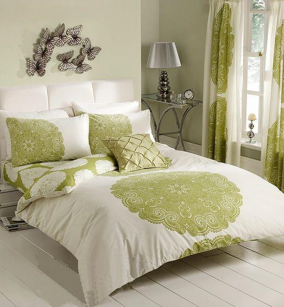 Manhatten cream & green duvet cover