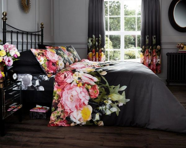 Faded Floral black & pink cotton blend duvet cover