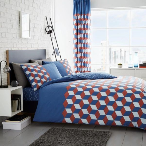 Cubix blue cotton blend duvet cover