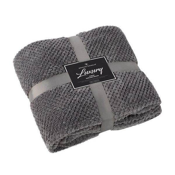 Popcorn plain charcoal fleece throw