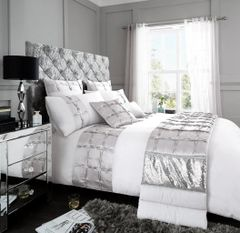 Adriana white cotton blend duvet cover
