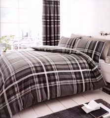 Newton Tartan grey cotton blend duvet cover