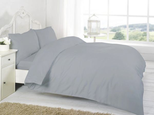 Grey Egyptian Cotton 200 TC fitted sheet