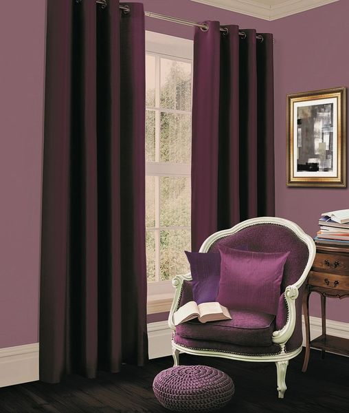 Thermal blackout aubergine eyelet curtains