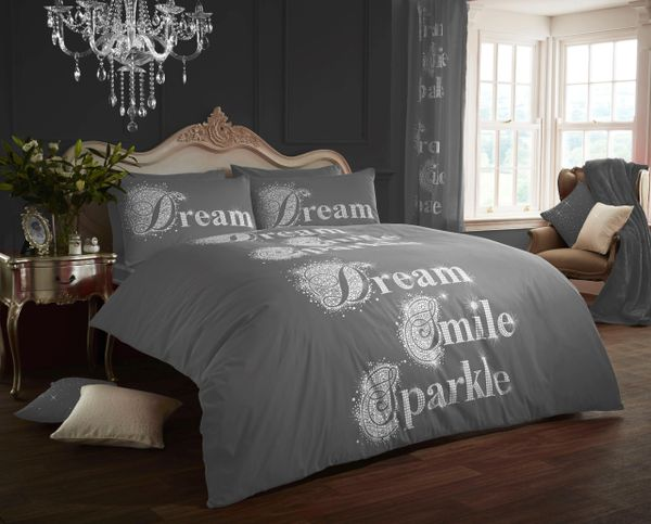 Sparkle grey cotton blend duvet cover