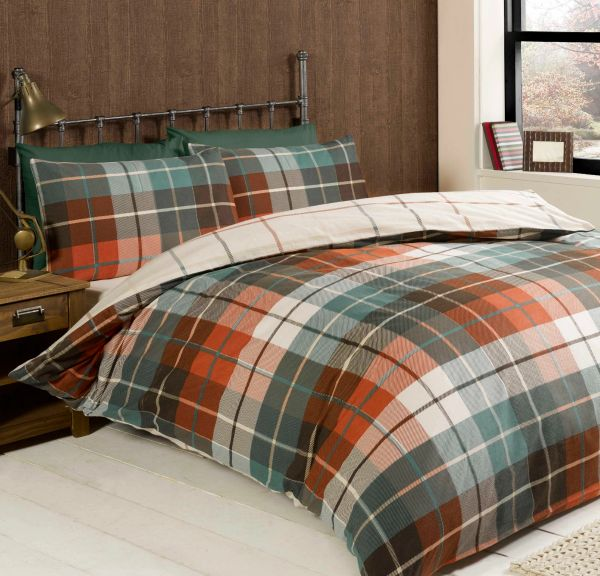 Lomand check terracotta flannelette duvet cover