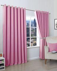 Thermal blackout pink eyelet curtains