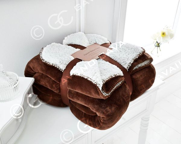 Flannel Sherpa fleece coffee throw