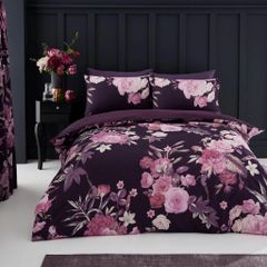 Flora purple cotton blend duvet cover