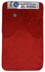 Red cube memory foam 2 piece bath mat set