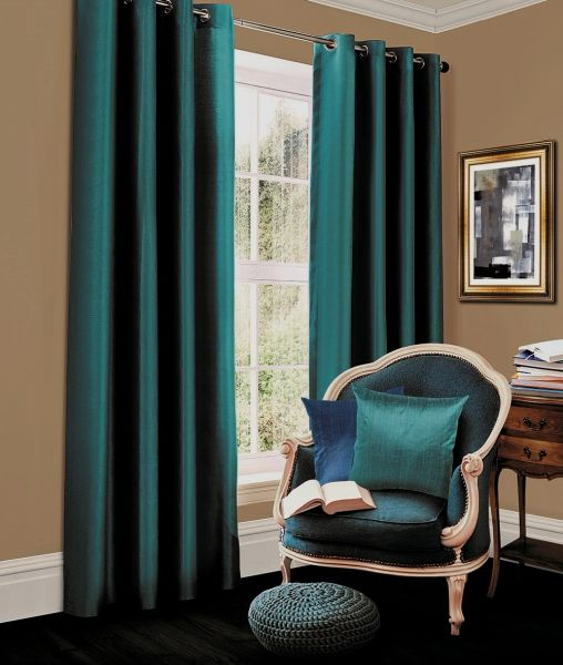 Thermal blackout teal eyelet curtains