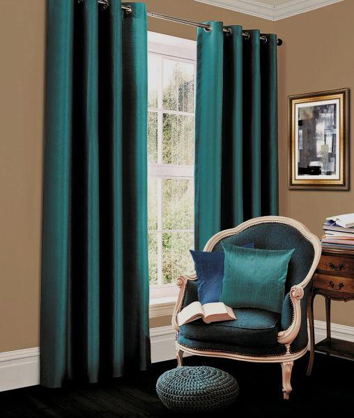 Thermal blackout teal eyelet curtains