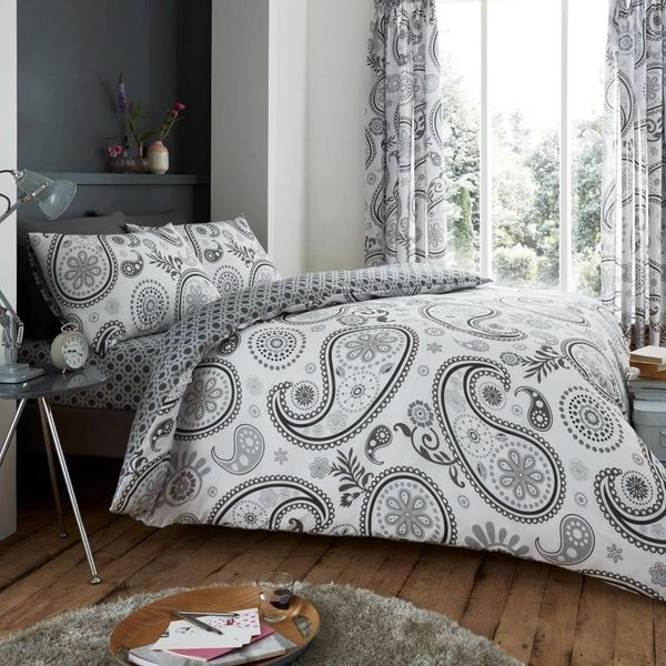 Florance Paisley grey cotton blend duvet cover