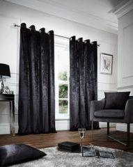 Crushed velvet black eyelet curtains