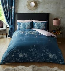 Bella navy cotton blend duvet cover