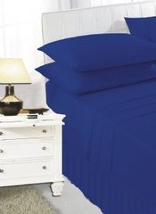 Royal blue frilled valance sheet