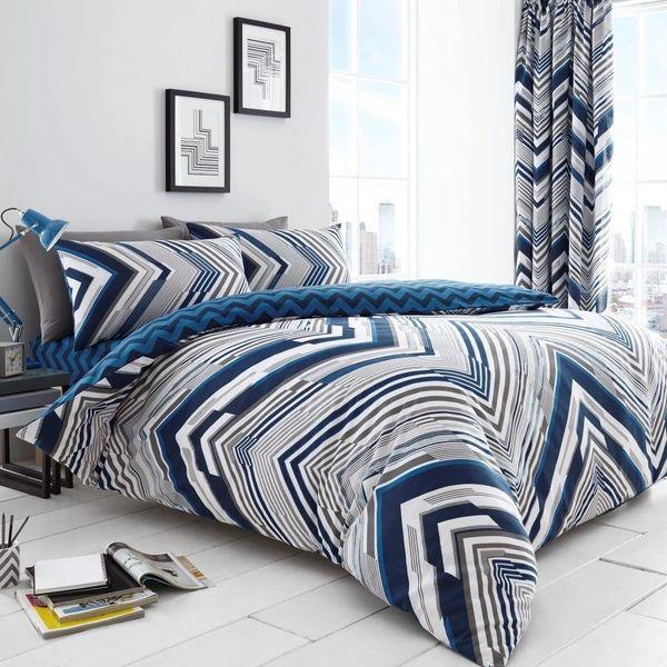 Austin blue cotton blend duvet cover