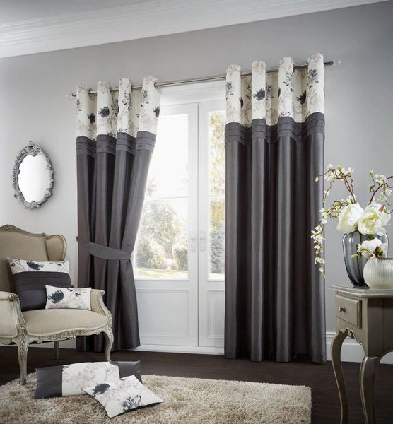 Floral strip charcoal eyelet curtains