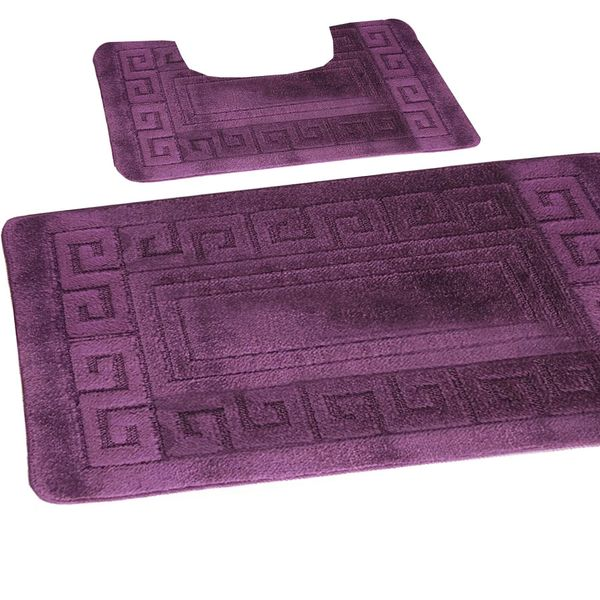 Purple Greek style 2 piece bath mat set