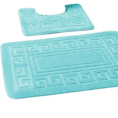 Aqua Greek style 2 piece bath mat set