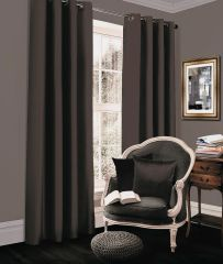 Thermal blackout charcoal eyelet curtains