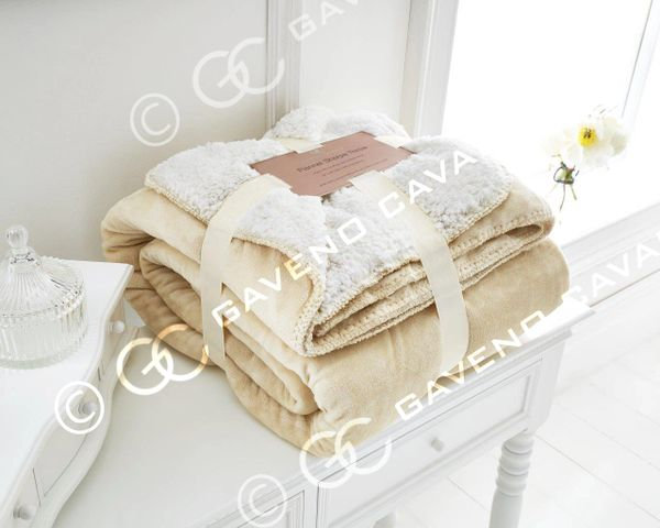 Flannel Sherpa fleece cream throw