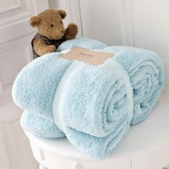 Teddy fleece plain duck egg throw
