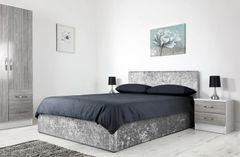 Grey crushed velvet ottoman storage bed
