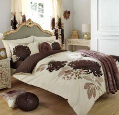 Kew cream & brown cotton blend duvet cover