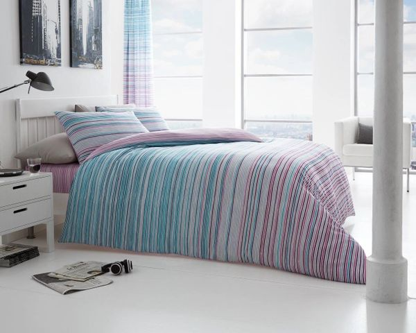 Andrea teal cotton blend duvet cover