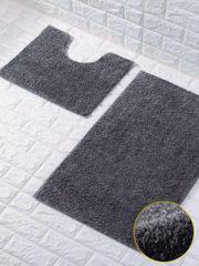 Dark grey glittery 2 piece bath mat set