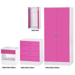 Alpha pink gloss & white 3 piece bedroom furniture set