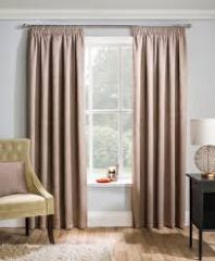 Matrix latte blockout pencil pleat curtains