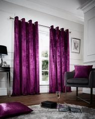 Crushed velvet aubergine eyelet curtains