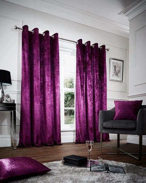 Crushed velvet aubergine eyelet curtains