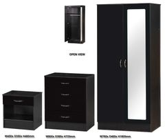 Alpha mirrored black gloss 3 piece bedroom furniture set