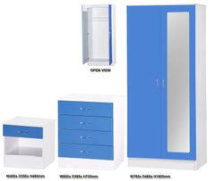 Alpha mirrored blue gloss & white 3 piece bedroom furniture set