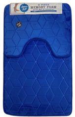 Royal Blue cube memory foam 2 piece bath mat set
