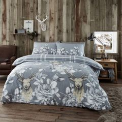 Laura Stag grey flannelette duvet cover