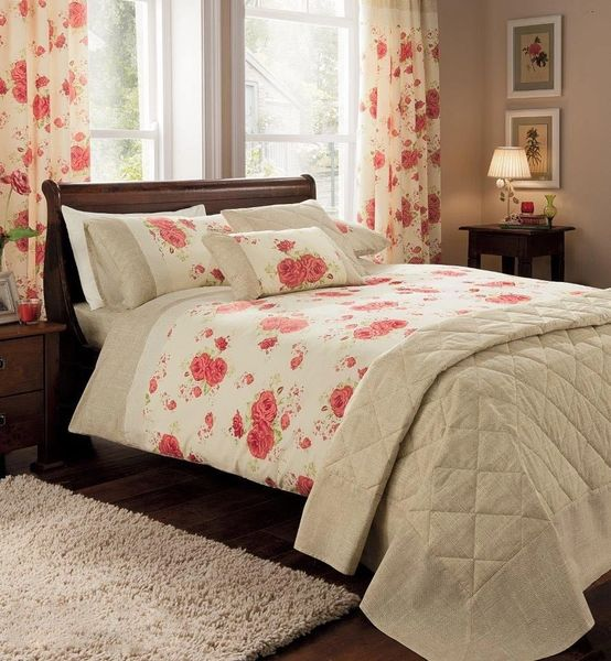 Rosa cream/red super king duvet cover