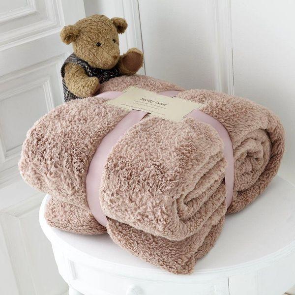 Teddy fleece plain mink throw