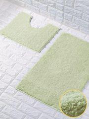 Mint green glittery 2 piece bath mat set